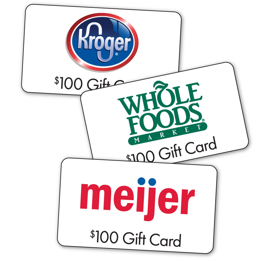 Gifts cards from Kroger, Whole Foods, and Meijer with $100 value